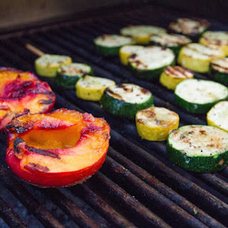 Pork Chops with Grilled Nectarines and Vegetable Kebabs Recipe