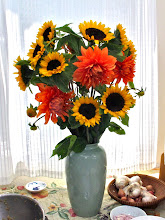 Photo: sunflowers and dahlias from the farmer's market, compliments of Armin