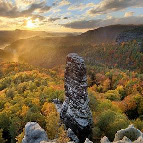 Autumn at Bohemian Switzerland by Pavel Klásek - Landscapes Sunsets & Sunrises ( clouds, pravcicka brana, autumn, bohemian switzerland, sunset, rock, valley, saxon switzerland, sun, pravcicky kuzel )