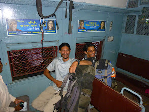 Photo: Richard Kher and Ajit Bobhate starting our journey from Matunga to CST on a local train.