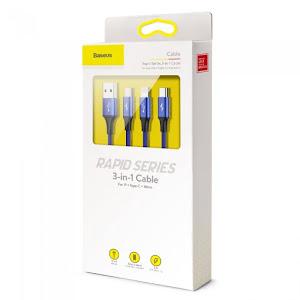 Cablu de date/incarcare Baseus, 3 in 1 MicroUSB/USB-C/Lightning, Albastru