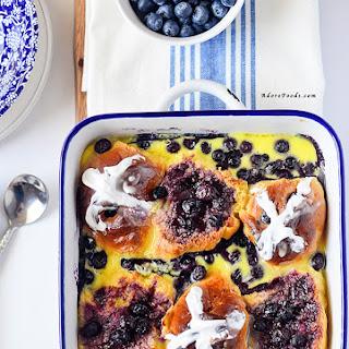 Blueberry Hot Cross Bun Bread Pudding.