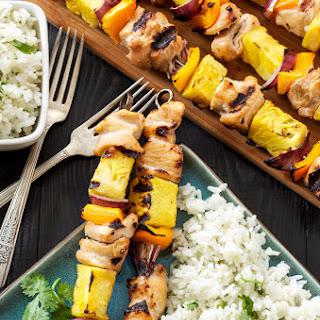 Hawaiian Chicken Skewers with Cilantro Coconut Rice