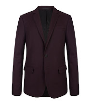 Photo: Spires Blazer>> UK>http://bit.ly/R8auvB US>http://bit.ly/Ntns1G   The Spires Blazer is made using the finest British wool cloth in oxblood. Fully lined in Italian twill, this well-executed cut uses basting stitching on the shoulders, back vent and cuffs. Also featuring contrast melton under the collar with a self fabric tab and AllSaints real horn buttons.