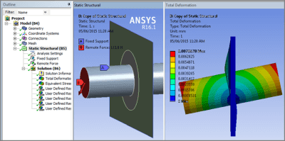 ANSYS Соединение твёрдого тела с внутренней кромкой отверстия в поверхности