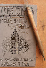 Photo: Oakland in Popular Memory book cover carved by Dave Smallen into a linoleum block  for traditional printing