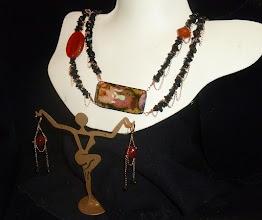Photo: STOLEN GODDESS (Persephone) - ВКРАДЕНА БОГИНЯ - copper enamel pendant, onyx, carnelian, rose gold vermеil chains/lobster claw clasp/lever backs SOLD/ПРОДАНИЙ