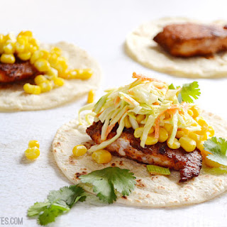 Fish Tacos with Cumin Lime Slaw.