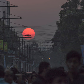 Good bye by Subhajit Basak - Landscapes Sunsets & Sunrises ( wire, kolkata, cityscape, places, landscape, bengal, dusk, sun, city, sky, red, sunset, india, evening )