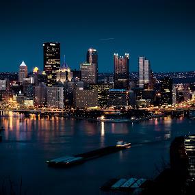 Pittsburgh @night by RomanDA Photography - City,  Street & Park  Skylines ( water, skyline, pittsburgh, night, lights, , city, device, transportation, Urban, City, Lifestyle )