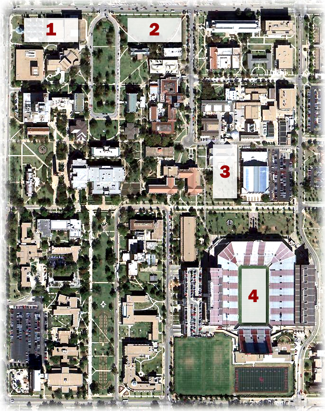 Photo: Estimated locations of OU's four home fields: (1) OU's first field north of Holmberg Hall, (2) OU's second field (3) Boyd Field, (4) Owen Field.