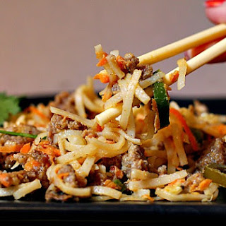 Asian Noodles and Ground Pork and Peanut Sauce.