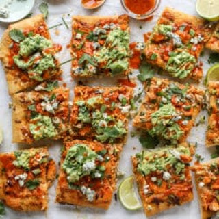 Guacamole Buffalo Chicken Pizza.