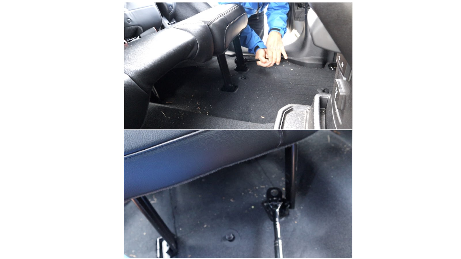 Removal of Front Bolts of Rear Seat