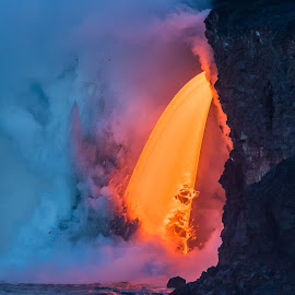 Lava Fall by Warren Fintz - Landscapes Caves & Formations ( adventure, epic, lavafall, volcano, lava, kilauea, ocean, travel, landscape, firehose, hawaii,  )