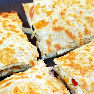 """Lightened Up Chicken, Bacon, Ranch Quesadillas With A Clean """"ranch"""" Dipping Sauce."""