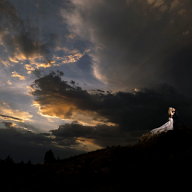 Sunset Clouds by Lood Goosen (LWG Photo) - Wedding Bride & Groom ( bride, wedding dress, groom, wedding photographer, wedding photography, bride groom, weddings, wedding day, wedding photographers, clouds, kiss, bride and groom, sunset, wedding )