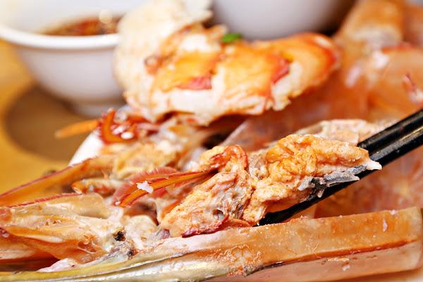 蟹老闆竹炭火鍋  滿滿蝦膏的海虎蝦真的太銷魂 天使紅蝦藍蟹干貝鮑魚 肥美海鮮一次收服