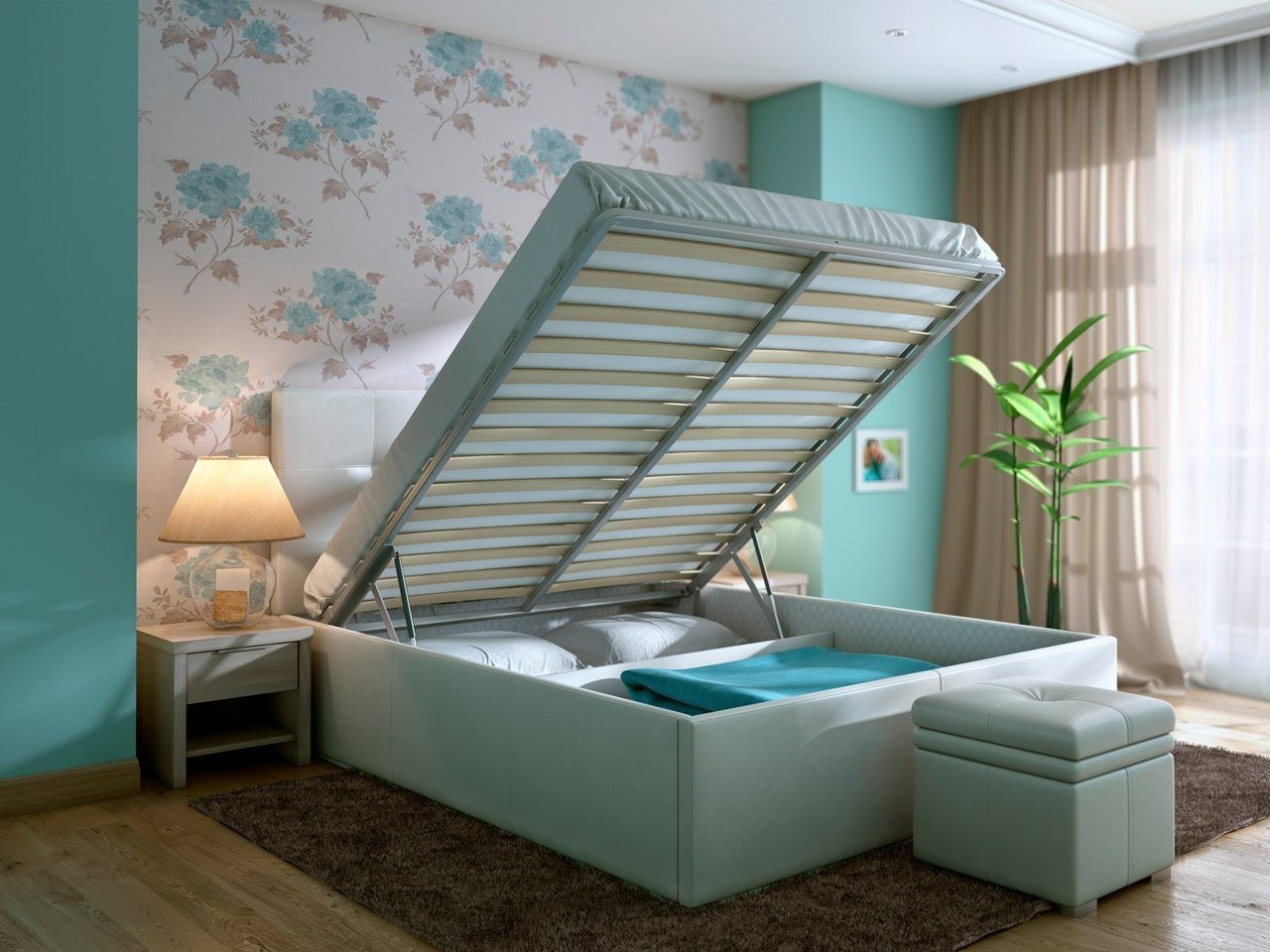 Кровать обшита тканью, по цвету повторяющую обои на стенах помещения