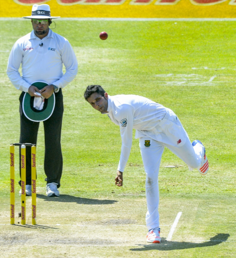 Keshav Maharaj of South Africa in action.