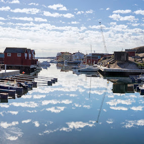 Harbor in the morning by Mats Andersson - City,  Street & Park  Vistas ( calm water, harbor, reflections of clouds, clouds, water, morning )