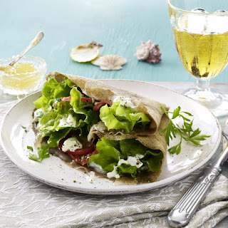 Buckwheat Galettes with Pear and Goat Cheese Salad