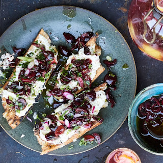 Charred Bread with Ricotta and Cherry Salsa.