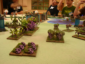 Photo: Cthulian Shooters in the foreground (Spitters) and the rest of the Cthulians forces Magician (Gen) (Ancient Osheroth), Flyers (Squix and Cthulabites), Warband (Tanglix and Corruptors).