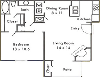 Go to One Bedroom Luxury Floorplan page.