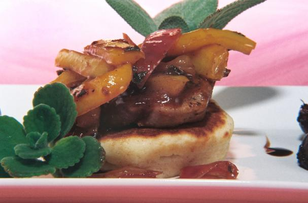 Brandy Plum Pork Tenderloin Served On Buttermilk Corn Cakes