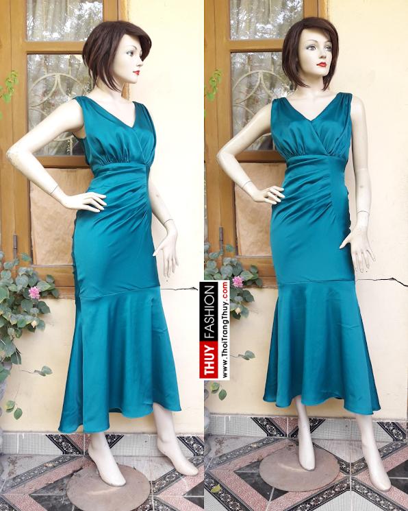 Váy dự tiệc cổ chữ V xếp ly eo nữ tính V355 thời trang thủy