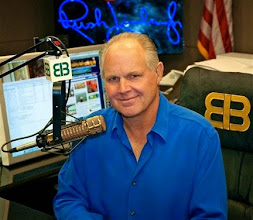 """Photo: This photo provided by Rush Limbaugh shows Limbaugh in his Palm Beach, Fla. radio studio, the last week of Sept., 2009. NFL commissioner Roger Goodell says he would not tolerate """"divisive"""" comments from an NFL owner like the ones the talk show host made about Donovan McNabb in 2003. And Colts owner Jim Irsay says he would vote to bar Limbaugh if he tries to buy the St. Louis Rams. (AP Photo/Photo courtesy of Rush Limbaugh)"""