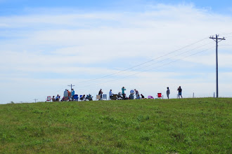 Photo: Looking up the hill at our group assembling for the eclipse. Our vantage point was excellent. (Ly's photo)
