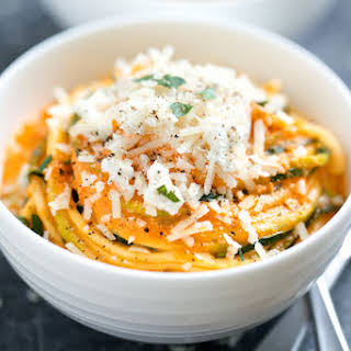 Creamy Roasted Red Pepper Zucchini Noodles.