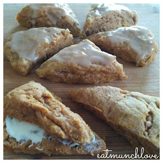 Pumpkin Spice Scones With Cinnamon Glaze (vegan)