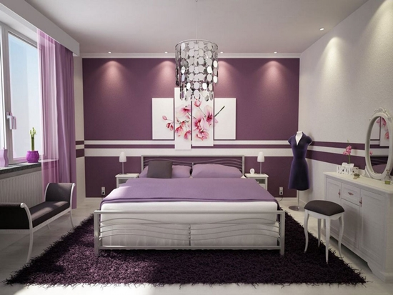 Elegant Bedroom Design With Purple Accent Wall And