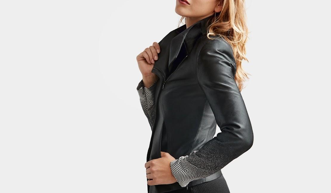 Woman wearing a custom Jacquard-enabled jacket