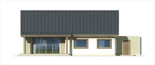 Antek II wersja B z pojedynczym garażem - Elewacja tylna
