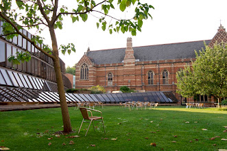 Photo: Keble College's serene gardens and synergistic modern and neo-gothic architecture.