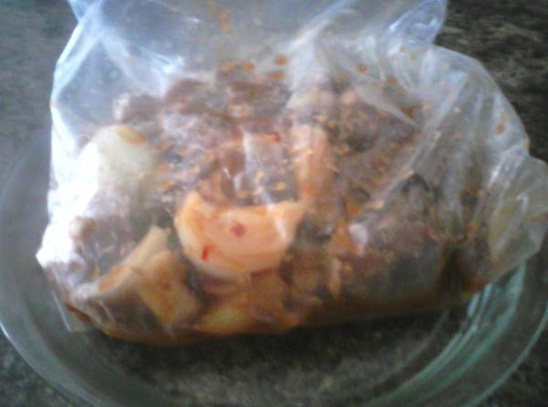 Early in the day put your pork or chicken in a gallon zip lock...