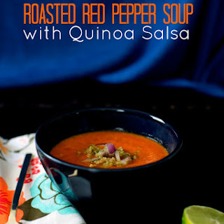 Roasted Red Pepper Soup with Quinoa Salsa - from Meatless Cookbook