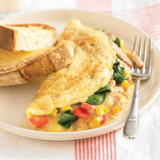 Mozzarella, Spinach and Tuna Omelet.