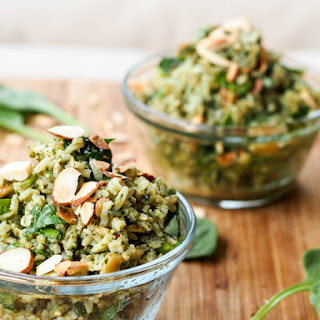 Vegan Pesto Brown Rice Pilaf {Gluten-Free}
