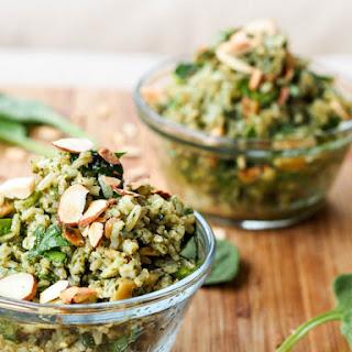 Vegan Pesto Brown Rice Pilaf {Gluten-Free}.