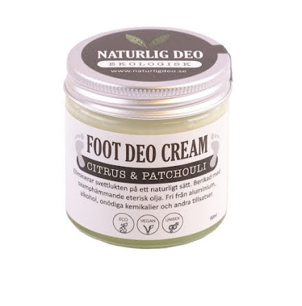 Naturlig Deo Foot Cream 60 ml - Citrus & Patchouli - REA PGA KORT DATUM