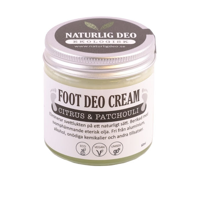 Naturlig Deo Foot Cream 60 ml - Citrus & Patchouli - REA PGA KORT DATUM
