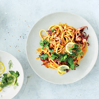 Squid and Fennel Pasta with Lemon and Herbs Recipe | Epicurious.Com Recipe