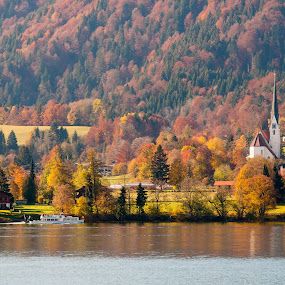 Tegernsee by Photoxor AU - Landscapes Mountains & Hills ( deutschland, forrest, church, see, bavaria, color, wald, germany, bayern, lake, tegernsee, herbstlaub,  )