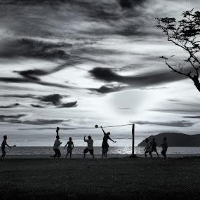 At Dawn by Ibrahim Johan - Sports & Fitness Other Sports ( b&w, beach )