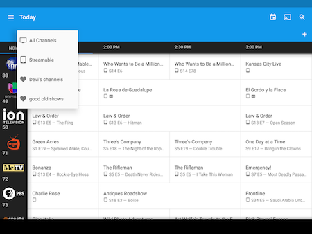 Use the Guides menu to view channels and shows in the Google Fiber TV app on Android.